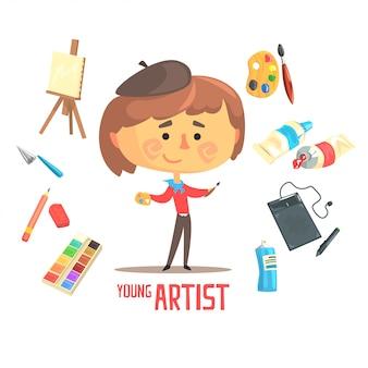 Pittore dell'artista del ragazzo, illustrazione professionale di occupazione di sogno futuro dei bambini con relativa agli oggetti di professione