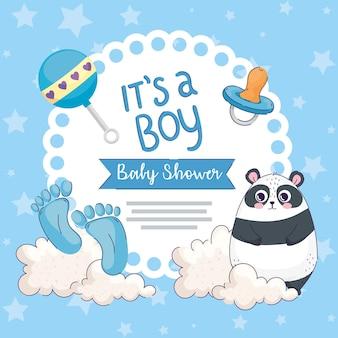 Ragazzo baby shower card Vettore Premium