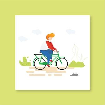 Ragazzo in bicicletta che guida la gente illustrazione bici vector