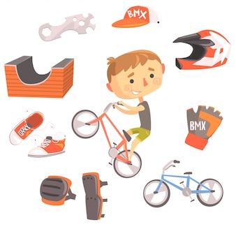 Ragazzo bmx bike rider, illustrazione professionale di occupazione di sogno futuro dei bambini con relativa agli oggetti di professione Vettore Premium