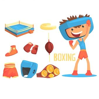 Ragazzo pugile, illustrazione di carriera sportiva di pugilato professionale di sogno futuro dei bambini con relativa agli oggetti di professione
