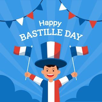 Ragazzo che celebra il giorno della presa della bastiglia in francia