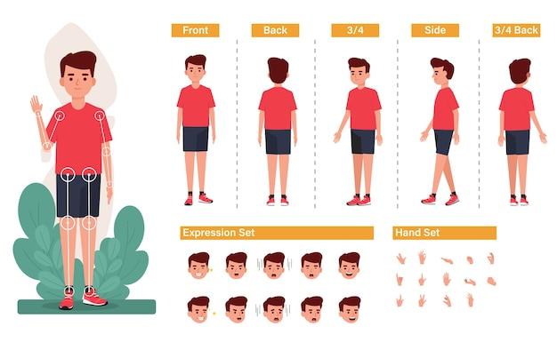 Set di creazione del personaggio del ragazzo con varie acconciature viste affrontano emozioni e pose