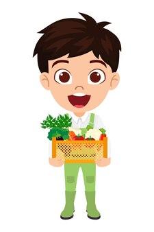 Personaggio del ragazzo che indossa abiti da contadino