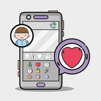Ragazzo nell'icona del messaggio della bolla di chiacchierata