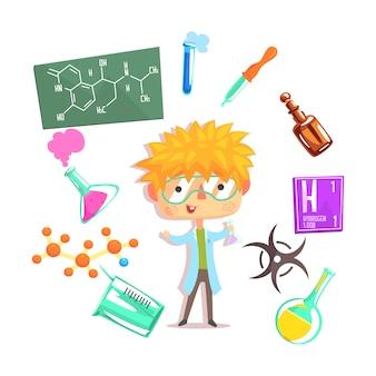 Chimico del ragazzo, illustrazione professionale di occupazione di sogno futuro dei bambini con relativa agli oggetti di professione