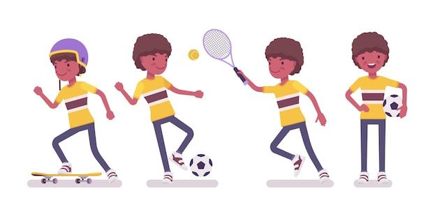 Ragazzo bambino da 7 a 9 anni, maschio nero in età scolare attività sportiva per bambini