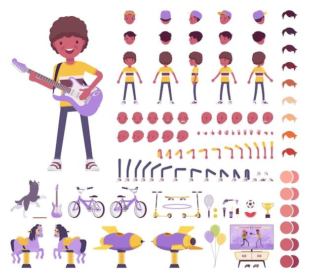 Ragazzo bambino 7, 9 anni, set da costruzione bambino nero in età scolare, scolaro, ragazzo attivo in abbigliamento estivo, divertimento, elementi di creazione di attività per costruire il proprio design. illustrazione infografica in stile piatto del fumetto