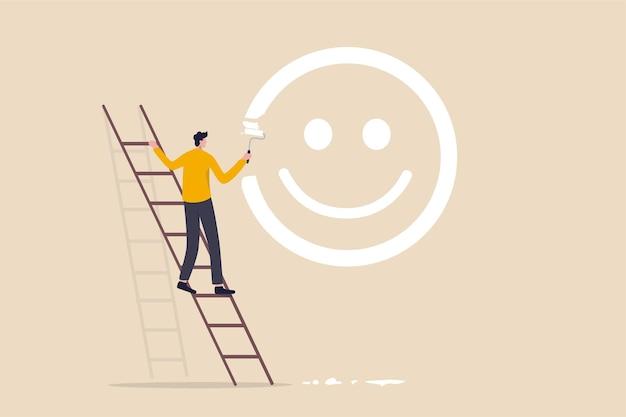 Ragazzo salire la scala per dipingere la faccia sorridente sul muro