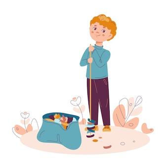 Il ragazzo raccoglie la spazzatura nel sacco della spazzatura concetto di pulizia della natura