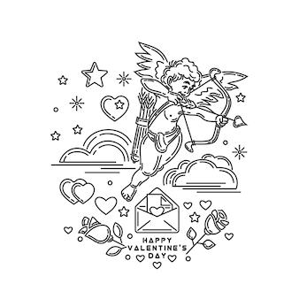 Ragazzo cupido che spara da prua. lettera romantica in una busta. rose e iscrizione di saluto. linea impostata per san valentino e altri eventi romantici. illustrazione