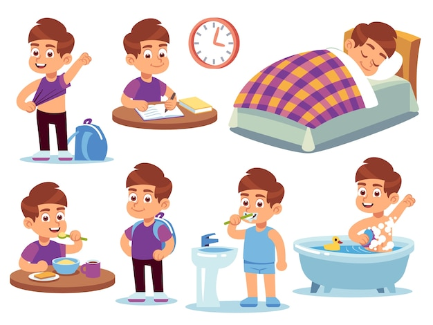 Attività quotidiane del ragazzo. il bambino dorme a letto, si sveglia e fa il bagno, fa i compiti e mangia a scuola. routine attiva mangiare seduto felice riordino insieme del fumetto