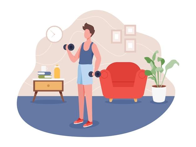 Ragazzo che fa sport indoor, stile di vita sano attivo.