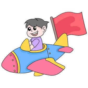Ragazzo che guida un aeroplano intorno al cielo per raggiungere gli obiettivi, arte dell'illustrazione di vettore. scarabocchiare icona immagine kawaii.