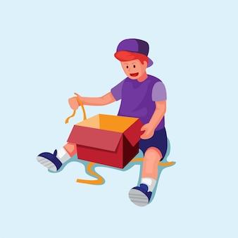 Ragazzo eccitato scatola aperta con nastro bambini felici unboxing regalo sorpresa regalo di compleanno o natale