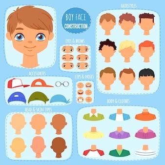 Il costruttore del fronte del ragazzo scherza la creazione dell'avatar del carattere e del tipo con l'insieme dell'illustrazione degli occhi delle labbra della testa della costruzione degli elementi facciali uomo-bambino con l'acconciatura dei bambini su fondo