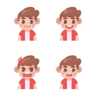 Set di espressione del viso del ragazzo