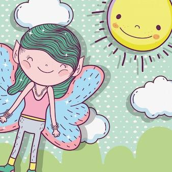 Creatura fata ragazzo con sole e nuvole