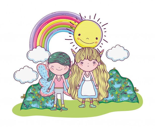 Fata del ragazzo con creatura ragazza con sole e arcobaleno