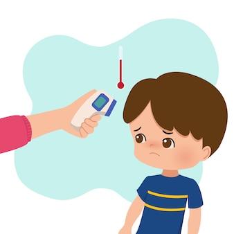 Ragazzo che si sente male farsi controllare con la pistola del termometro. controllo della temperatura corporea del virus corona per bambini. nuova illustrazione normale. piatto isolato su bianco