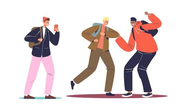 Ragazzo che riprende i compagni di classe lotta sullo smartphone