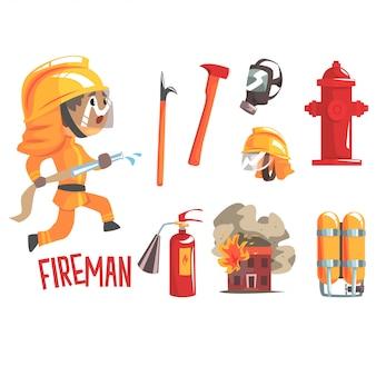 Pompiere del ragazzo, illustrazione professionale di occupazione del pompiere di sogno futuro dei bambini con relativa agli oggetti di professione