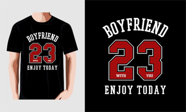 Disegno della maglietta tipografia ragazzo amico vettore premium