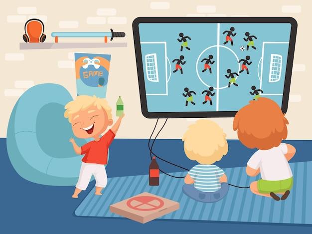 Ragazzi giocatori. piccoli uomini che giocano ai videogiochi. bambino felice sveglio del fumetto con la bottiglia di limonata nell'illustrazione di vettore dell'interno del soggiorno. giocatore che gioca in video, giocatore giovane con controller