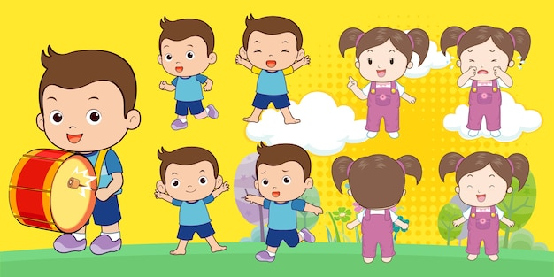 Ragazzo e ragazza personaggio dei cartoni animati
