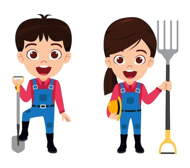 Personaggio di un ragazzo e una ragazza che indossa abiti da contadino con cappello