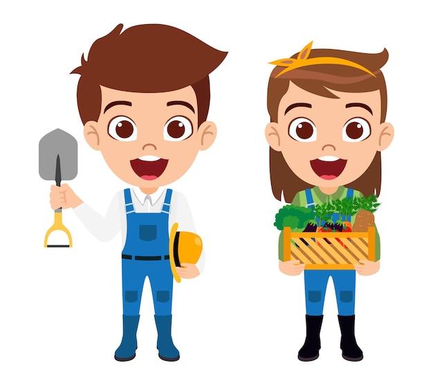 Personaggio di ragazzo e ragazza che indossa abiti da contadino