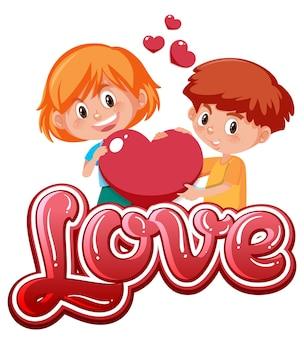 Ragazzo e ragazza che tengono l'icona del cuore