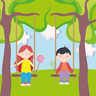 Ragazzo e ragazza giocano a swing