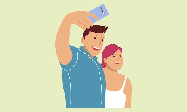 Ragazzo e ragazza prendono un selfie con la fotocamera