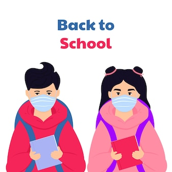 Ragazzo e ragazza indossano una maschera per proteggere il virus. bambini con zaini e libri pronti per tornare a scuola.