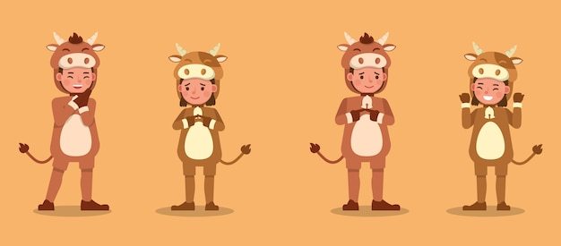 Ragazzo e ragazza che indossano il carattere dei costumi della mucca. presentazione in varie azioni con emozioni. no9
