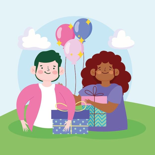 Ragazzo e ragazza con regali e palloncini celebrazione fumetto illustrazione