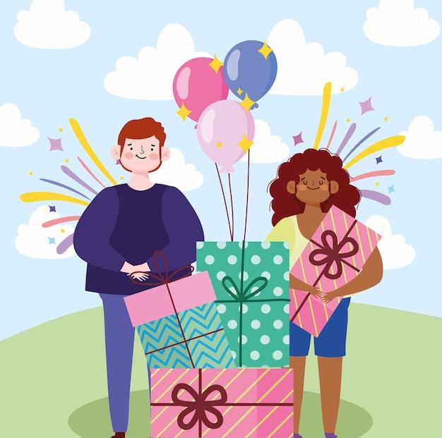 Un ragazzo e una ragazza con i regali palloncini festa celebrazione festosa fumetto illustrazione
