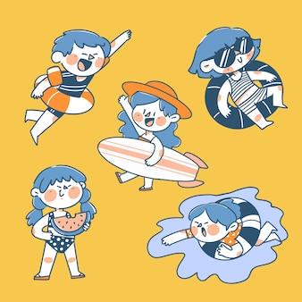 Illustrazione di doodle del carattere di attività della piscina di estate delle ragazze e del ragazzo