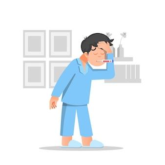 Un ragazzo ha la febbre isolata su bianco