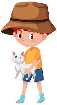 Ragazzo che tiene simpatico personaggio dei cartoni animati animale isolato su bianco