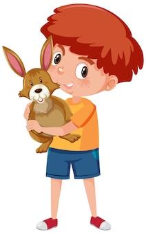 Ragazzo che tiene simpatico personaggio dei cartoni animati animale isolato