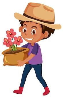 Ragazzo che tiene fiore in pentola personaggio dei fumetti isolato su sfondo bianco