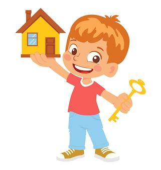 Casa e chiave della holding del ragazzo