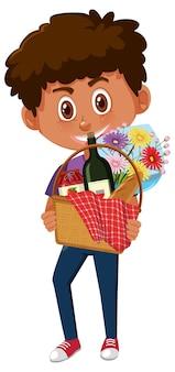 Ragazzo che tiene il personaggio dei cartoni animati di cestino da picnic