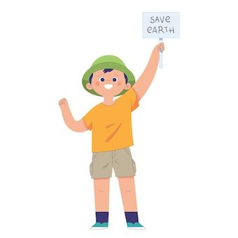Un ragazzo regge un piccolo cartello che dice di salvare la terra, il concetto di educazione ambientale fin dalla tenera età