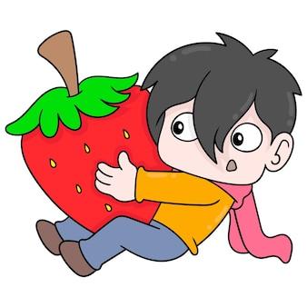 Il ragazzo sta abbracciando una fragola gigante, arte dell'illustrazione di vettore. scarabocchiare icona immagine kawaii.