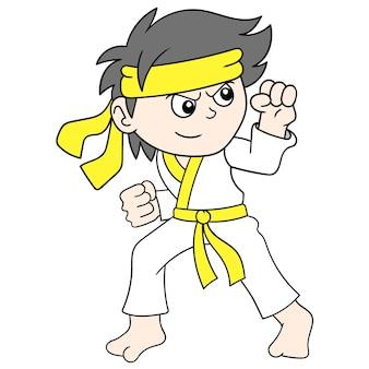 Il ragazzo sta posando facendo addestramento di arti marziali, arte dell'illustrazione di vettore. scarabocchiare icona immagine kawaii.