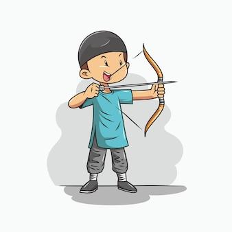 Ragazzo sta praticando tiro con l'arco