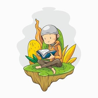Un ragazzo sta leggendo il corano. cartone animato con disegnato a mano